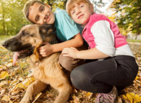 children hugging german shepherd